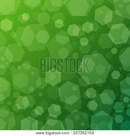 Green Geometric Abstract Techno Background With Hexagons. Template Wallpaper Design. Simple Gradient