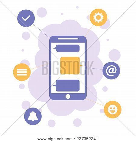 Smartphone With Apps Icons, Mobile Communication Flat Design Concept. Vector Illustration