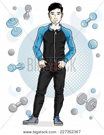 Handsome Brunet Young Man Poses On Simple Background With Dumbbells And Barbells. Vector Illustratio