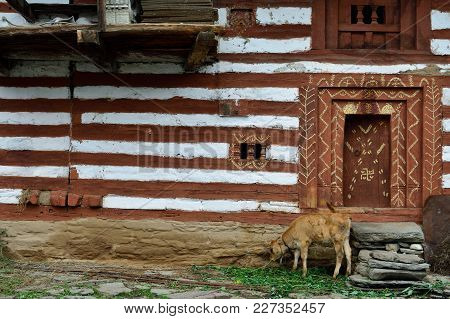 Facade Of The Traditional House In Old Manali In India, Himachal Pradesh
