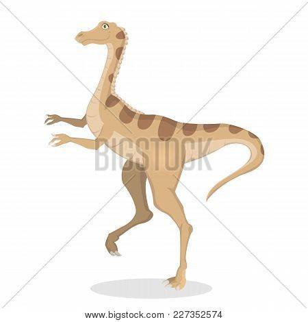 Gallimimus Dinosaur Isolated Ancient Creature On White.