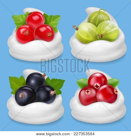 Realistic Berries Set With Cranberry Gooseberry Redcurrant And Black Currant In Yogurt.