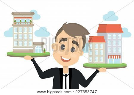 Choosing The Hotel. Man Holding Buildings On Hands.