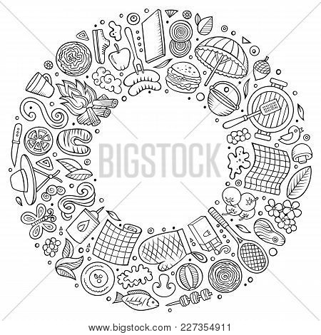 Line Art Vector Hand Drawn Set Of Picnic Cartoon Doodle Objects, Symbols And Items. Round Frame Comp