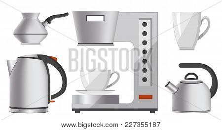 Set Of Silver Kitchen Devices Vector Illustration With Bright Cups, Coffee Machine, Electric-kettle