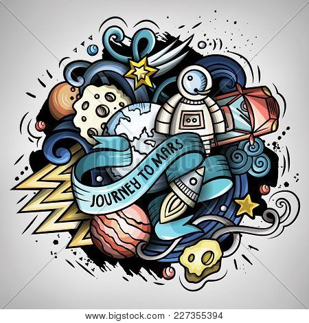 Cartoon Vector Doodles Joky Space Illustration. The Red Car In Outer Space. Colorful, Detailed, With