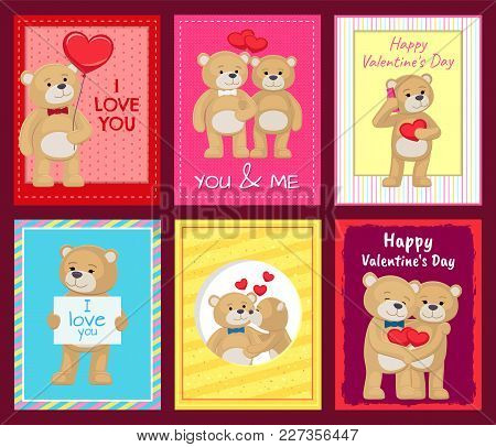 Cute Teddy Bears That Hugs, Confess In Love, Holds Hearts And Kiss On Festive Postcards For Valentin