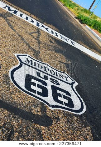 A Historic Route 66 Sign In Texas, Usa..