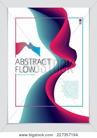Abstract Flow Fluid Vector Colorful Blend Art Background. A4 Print Format.brochure, Flyer, Cover, Po