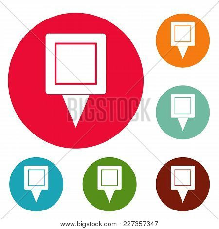 Square Pin Icons Circle Set Vector Isolated On White Background