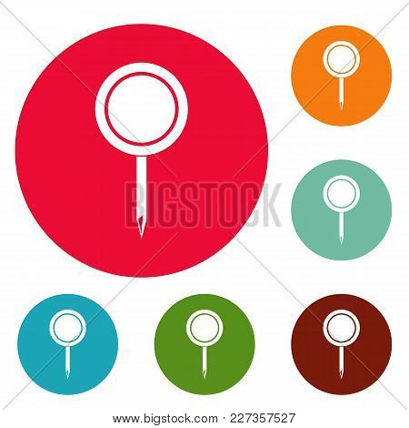 Round Pin Icons Circle Set Vector Isolated On White Background