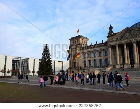 Berlin, Germany - December 3, 2017: The Reichstag, A Historic Edifice In Berlin