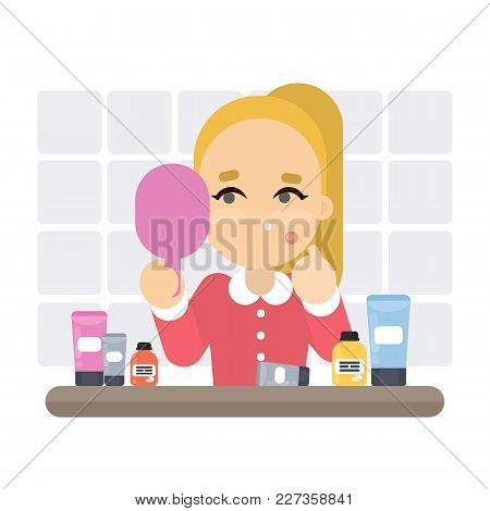 Woman With Bad Skin In Bathroom. Trying To Squeeze Pimples.