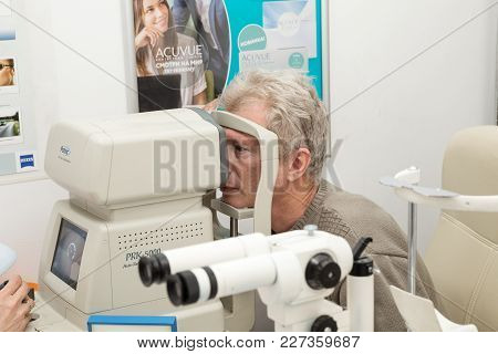 Saint Petersburg, Russia - February 13, 2018: A Man With A Model Release Is Checked For Vision On Di