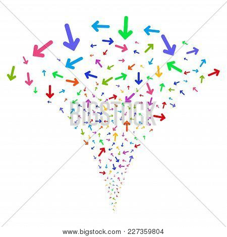 Multi Colored Arrow Direction Explosion Fountain. Object Fountain Created From Random Arrow Directio