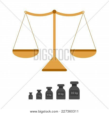 Vector Illustration. Flat Weights For Scales. Kilogram