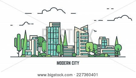 City With Buildings And Skyscrapers And Trees. Flat Style Line Vector Illustration. Business City Ce