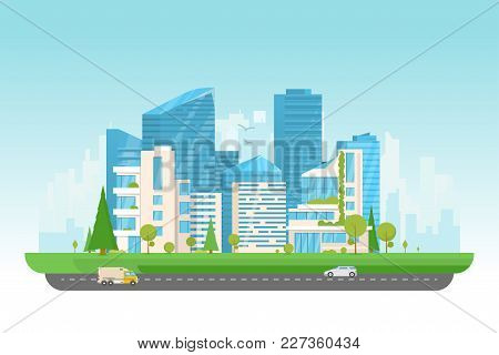 City Vector Illustration. Small Building, Big Skyscrapers And Large Smart City Tall Skyscrapers On B