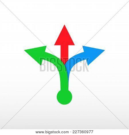 Three-way Direction Arrow. Color Triple Arrow. Vector Icon.