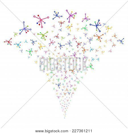 Multicolored Big Bang Fireworks Fountain. Object Fountain Organized From Random Big Bang Symbols As