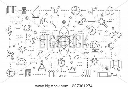 Science Line Illustration. Biology And Chemistry, Physics And Computer Science.