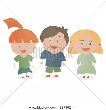 Boy And Two Girls. Funny Cartoon And Vector Teen Characters.