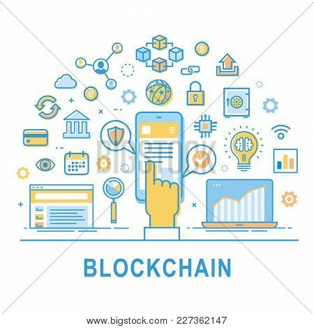Blockchain Technology Line Vector Illustration On White Background With Text