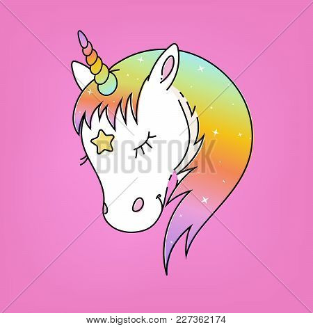 White Unicorn Vector Head With Rainbow Mane And Horn. Unicorn On Pink Background.