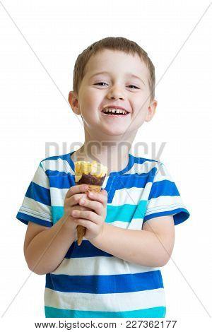 Funny Child Boy Eating Ice Cream Isolated On White