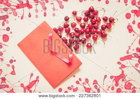 Cherries Berries In Paper Bag On Beige Background