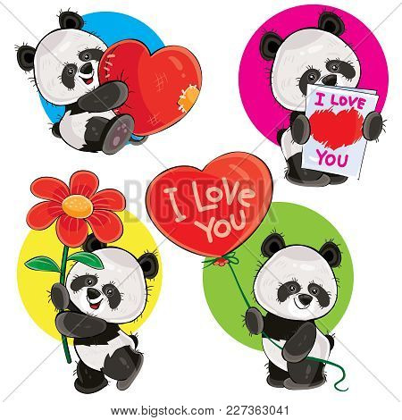 Valentine Day Vector Cartoon Set With Cute Panda Bears, With Soft Heart, With Love You Greeting Card