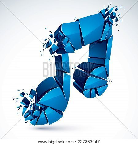 Musical Note Breaking To Pieces And Exploding, Vector 3d Realistic Illustration Symbol. Hard And Lou
