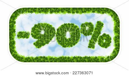 Wobbler Spring Sale 90 Percent Off. Letters And Figures From Maple Leaves On A Heavenly Background W