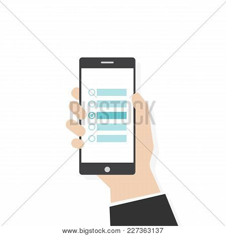 Customer Survey Flat Vector Illustration. Human Hand Holding Black Phone With Survey. Checkbox With
