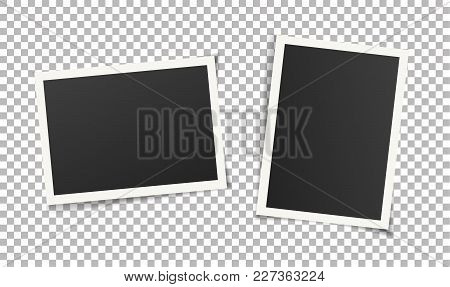 Two, Pair Vintage Photo Frames Without Adhesive Tape. Scrapbook Design. Vector Illustration Of Pictu