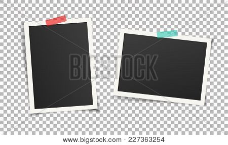 Two Vintage Photo Frames With Adhesive Tape. Scrapbook Picture Design. Vector Illustration Of Frame