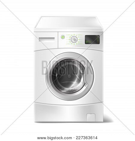 Vector Realistic Illustration Of Washing Machine With Smart Display On White Background. Electric Ap