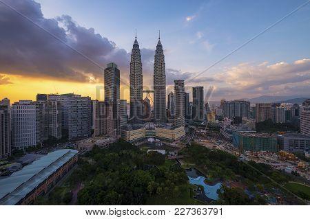 Kuala Lumpur, Malaysia - Circa May 2014: Golden Hour Sunset View Of Kuala Lumpur City Skyline Taken