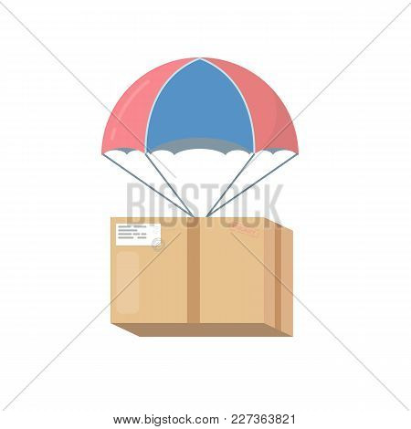 Package Cardboard Box With Attached Parachute And Ropes. Isolated On White Background. Shipping Or D