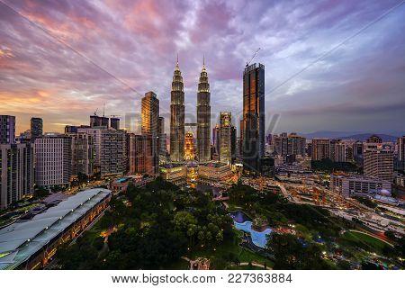 Kuala Lumpur, Malaysia - Circa October 2017: Glorious Sunset View Of Kuala Lumpur City Skyline Taken