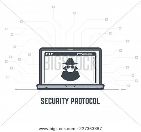 Data Security Concept. Laptop With Mysterious Anonymous Hacker Icon In Browser Window. System Secure