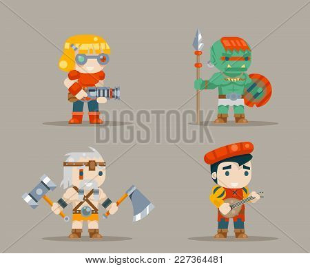 Barbarian Berseker Bard Tribal Orc Engeneer Inventor Rifleman Fantasy Game Rpg Characters Icons Set