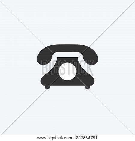 Classic Phone Isolated Flat Web Mobile Icon. Vector Graphic Illustration. Logotype, Logo