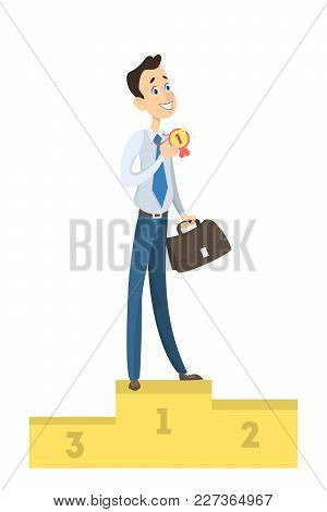 Isolated Happy Winner. Businessman On Pedestal With Medal.