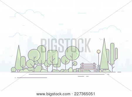 City Park Bench, Lawn And Trees. Flat Style Line Vector Illustration With Light Colors. Big City On