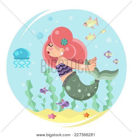 Cute Mermaid Girl Swimming Sea Ocean Water Bottom Character Icon Flat Design