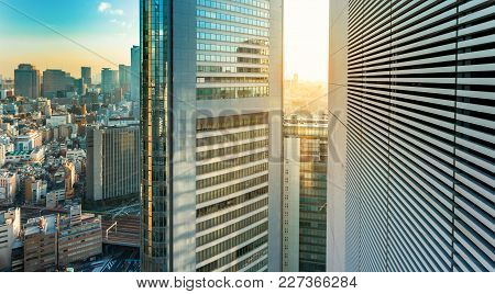 Aerial View Of Tokyo Skyscrapers And Skyline At Sunset