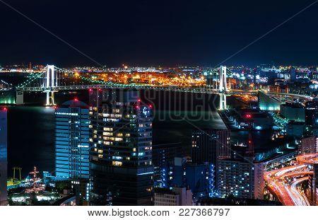 Aerial View Of Tokyo Bay In Japan At Night