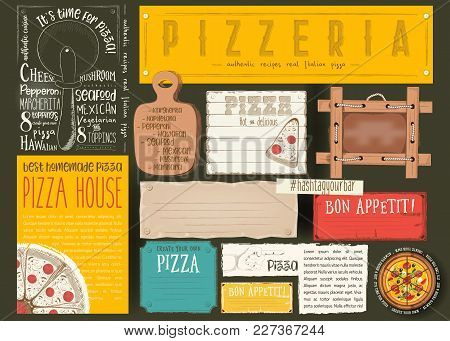 Pizzeria Placemat - Paper Napkin For Pizza House With Place For Text In Retro Style On Black Backgro