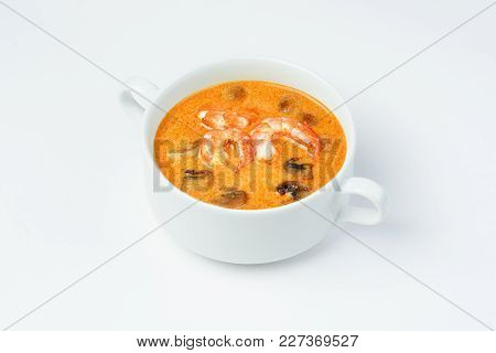 Soup With Shrimp And Mushrooms . White Background